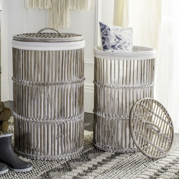 Libby Rattan Storage Hamper With Liner (Set of 2)