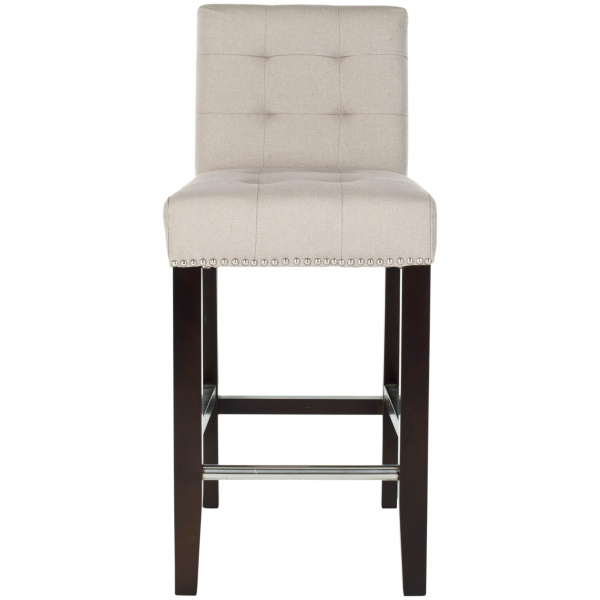 MCR4511B Thompson 23.9 Linen Counter Stool W/ Silver Nailheads