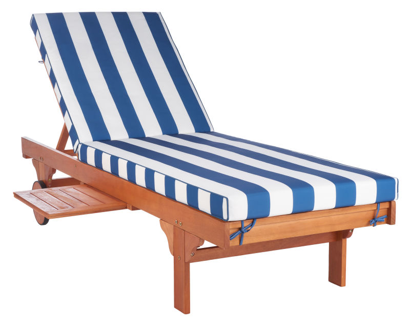 PAT7022J Newport Chaise Lounge Chair with Blue & White Cushion and Side Table