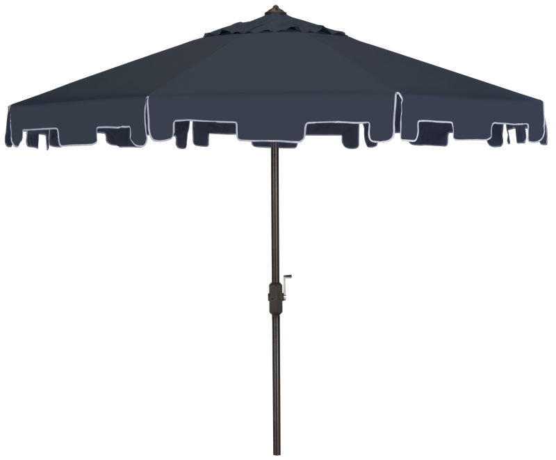 PAT8000A Uv Resistant Zimmerman 9 Ft Crank Market Push Button Tilt Umbrella With Flap Navy