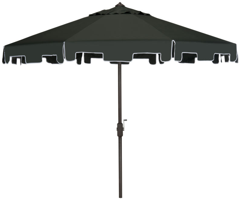PAT8000B Uv Resistant Zimmerman 9 Ft Crank Market Push Button Tilt Umbrella with Flap in Dark Green