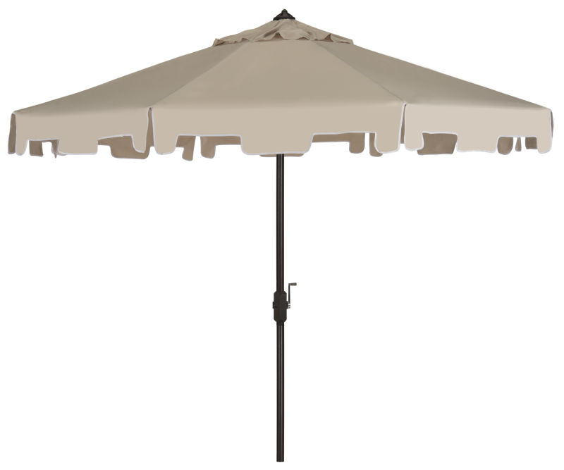 PAT8000C UV Resistant Zimmerman 9 Ft Crank Market Push Button Tilt Umbrella with Flap Beige