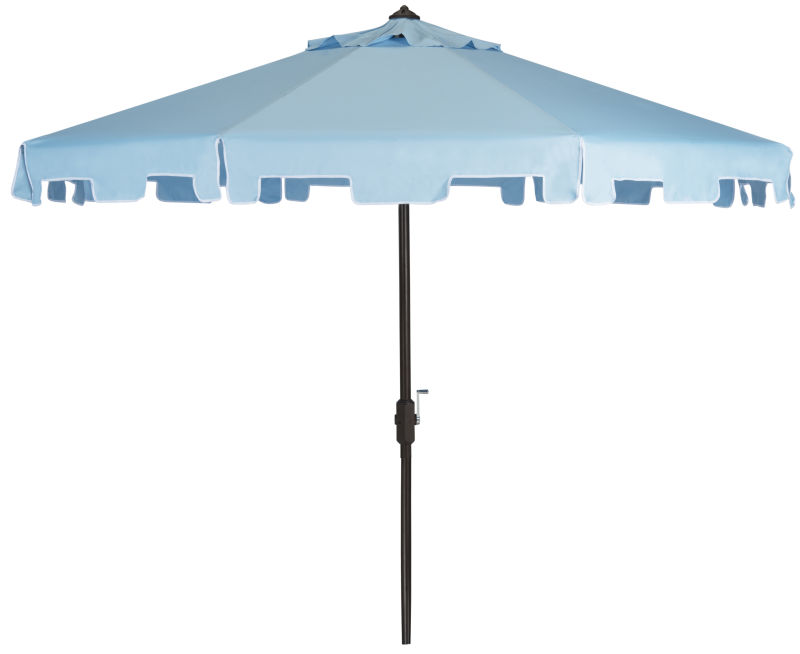 PAT8000D UV Resistant Zimmerman 9 Ft Crank Market Push Button Tilt Umbrella with Flap Blue