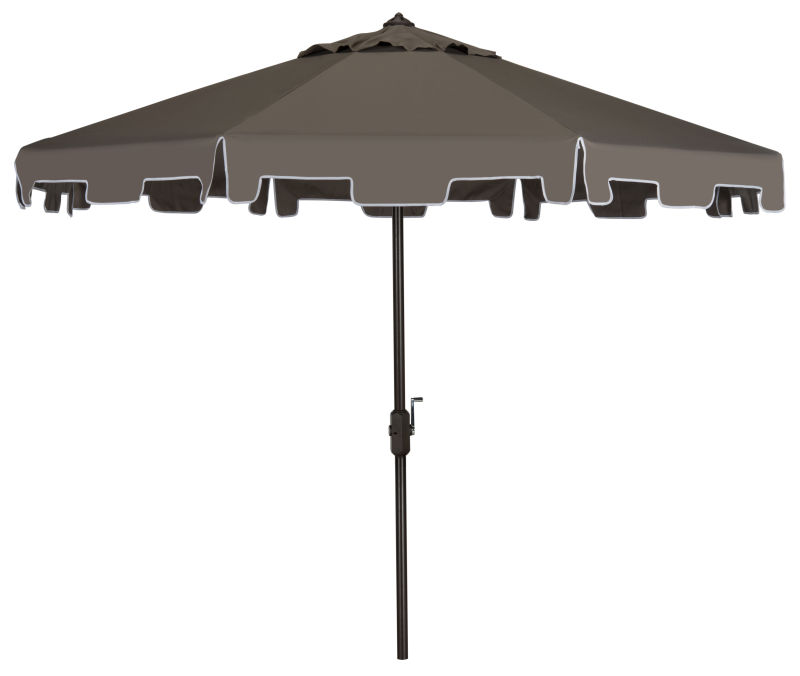 PAT8000E UV Resistant Zimmerman 9 Ft Crank Market Push Button Tilt Umbrella With Flap Grey