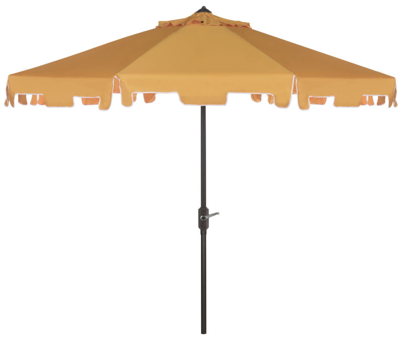 PAT8000F UV Resistant Zimmerman 9 Ft Crank Market Push Button Tilt Umbrella With Flap Yellow/White