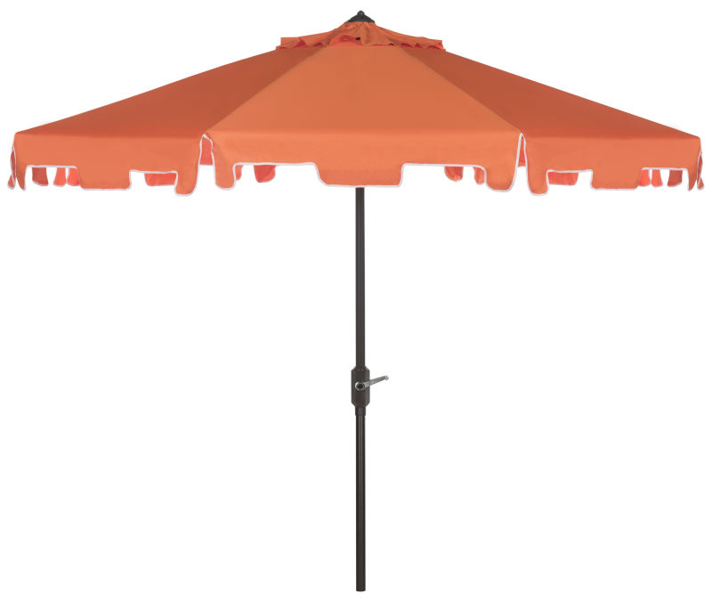 PAT8000G UV Resistant Zimmerman 9 Ft Crank Market Push Button Tilt Umbrella With Flap Orange/White