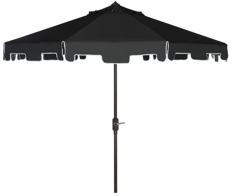 PAT8000H UV Resistant Zimmerman 9 Ft Crank Market Push Button Tilt Umbrella With Flap Black/White