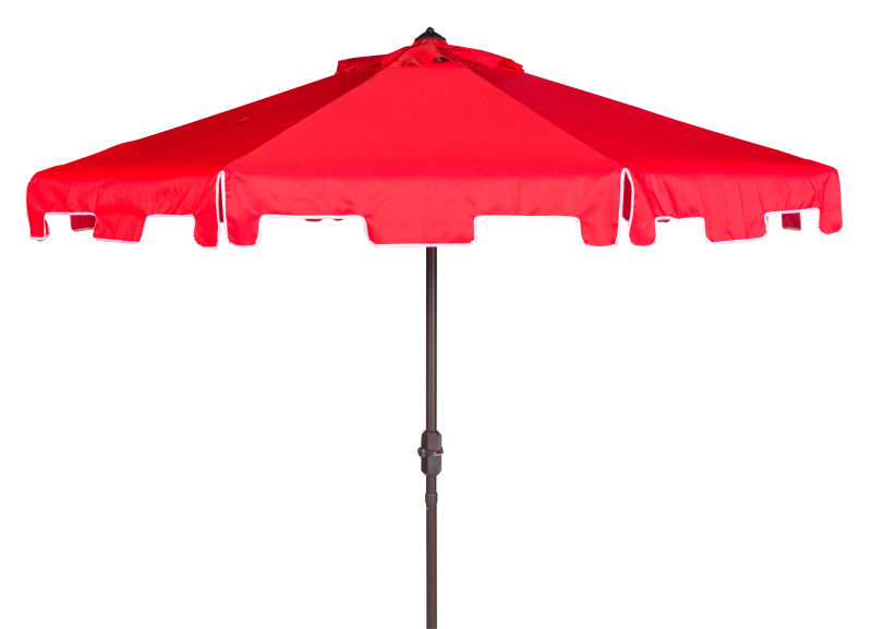 PAT8000J UV Resistant Zimmerman 9 Ft Crank Market Push Button Tilt Umbrella With Flap Red/White