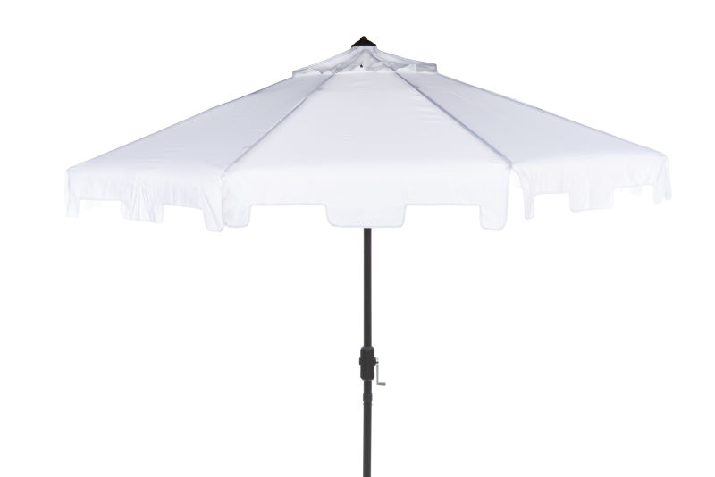 PAT8000K UV Resistant Zimmerman 9 Ft Crank Market Push Button Tilt Umbrella With Flap White