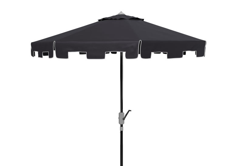 PAT8000M UV Resistant Zimmerman 9 Ft Crank Market Push Button Tilt Umbrella With Flap Black