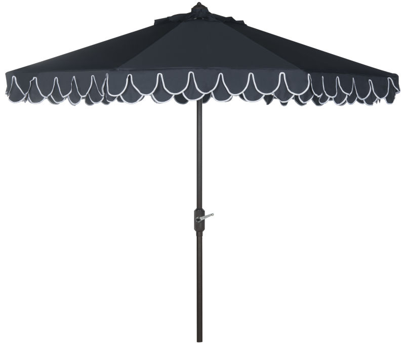 PAT8006A Uv Resistant Elegant Valance 9ft Auto Tilt Umbrella Navy/White