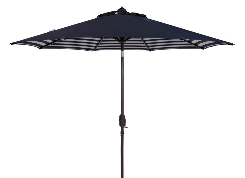 PAT8007A Athens Inside Out Striped 9ft Crank Outdoor Auto Tilt Umbrella Navy/White
