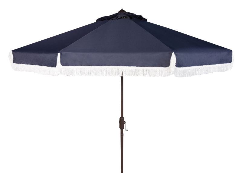 PAT8008A Milan Fringe 9ft Crank Outdoor Push Button Tilt Umbrella Navy/White
