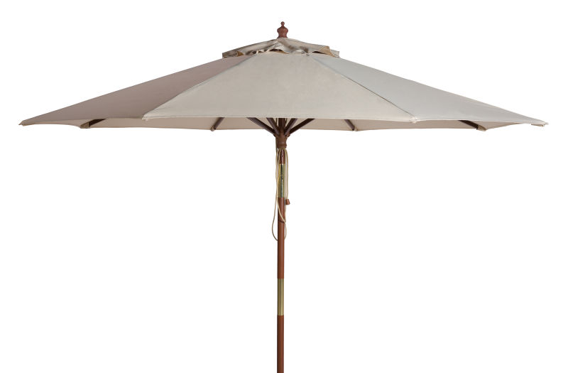 PAT8009A Cannes 9ft Wooden Outdoor Umbrella Beige