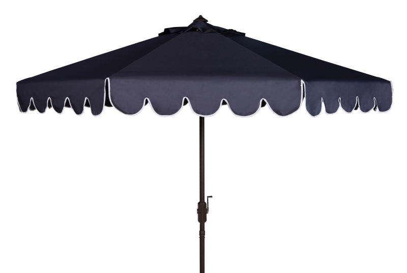 PAT8010A Venice Single Scallop 9ft Crank Outdoor Push Button Tilt Umbrella Navy/White