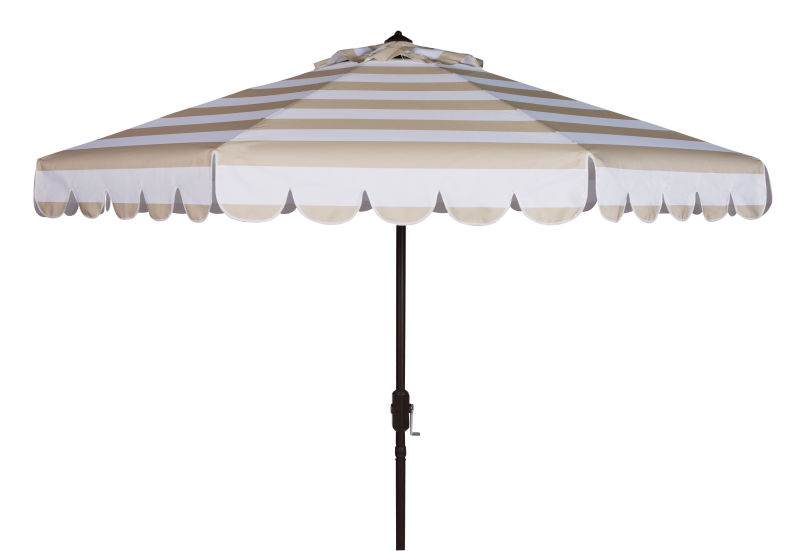 PAT8011A Maui Single Scallop Striped 9ft Crank Push Button Tilt Umbrella Beige/White
