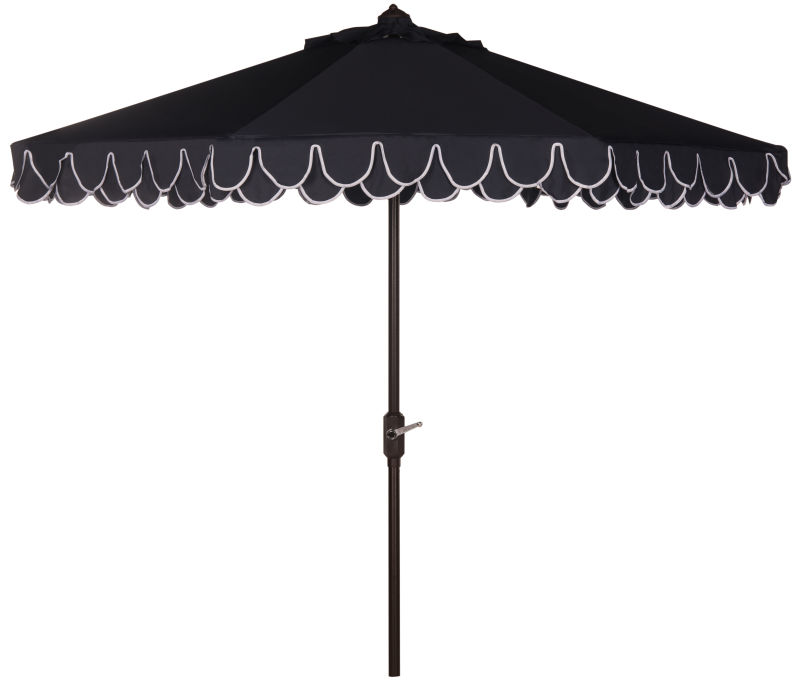 PAT8106A Elegant Valance 11ft Rnd Umbrella Navy/White