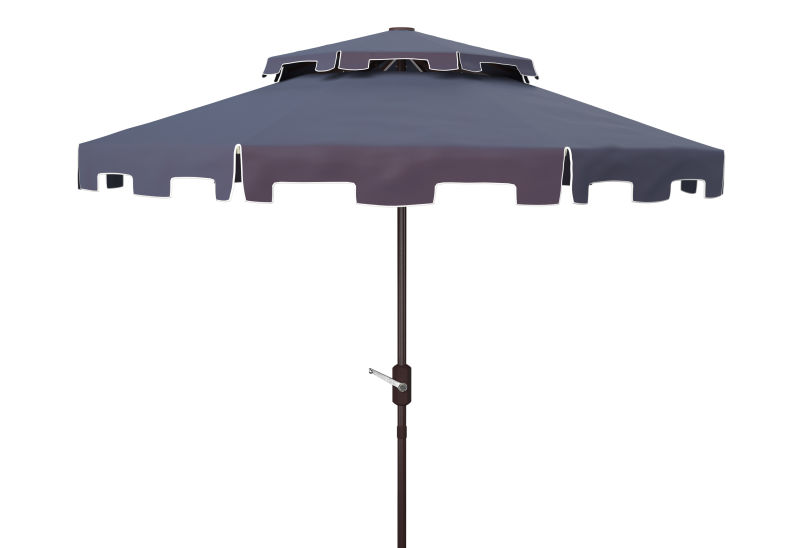 PAT8200A Zimmerman 9ft Double Top Market Umbrella Navy/White
