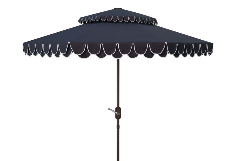 PAT8206A Elegant Valance 9ft Double Top Umbrella Navy/Whit