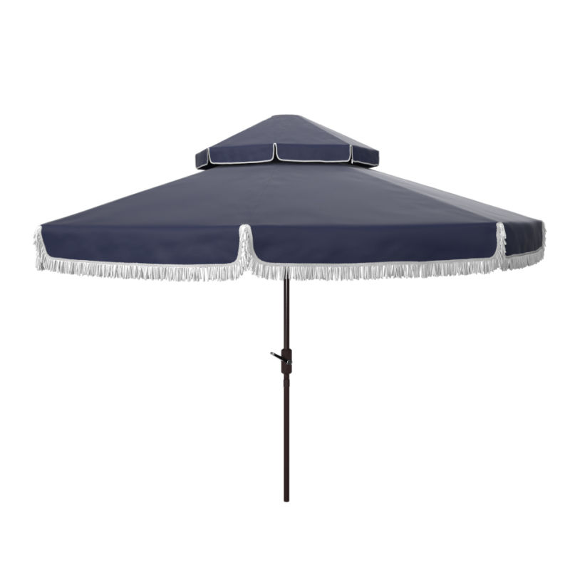 PAT8208A Milan Fringe 9ft Double Top Crank Umbrella Navy/White