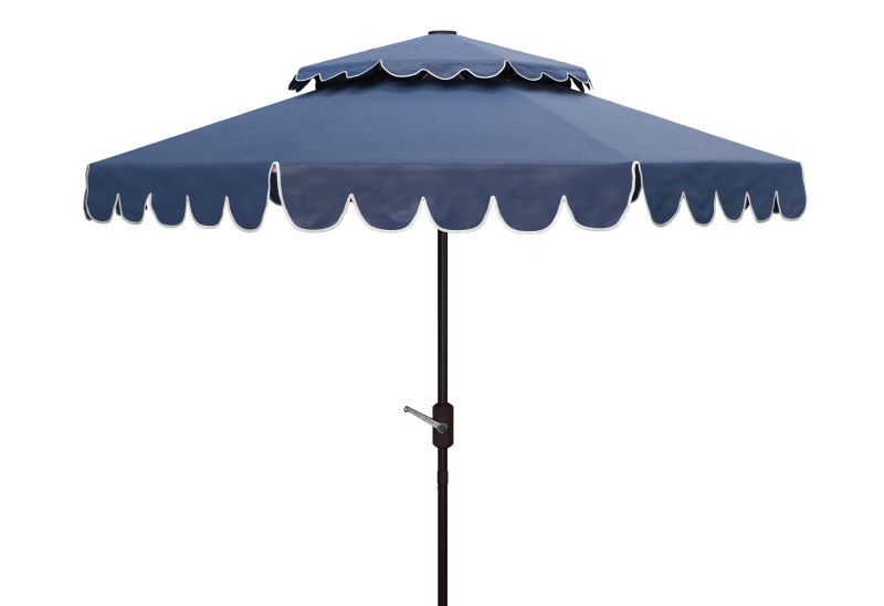PAT8210A Venice 9ft Rnd Double Top Crank Umbrella Navy/White