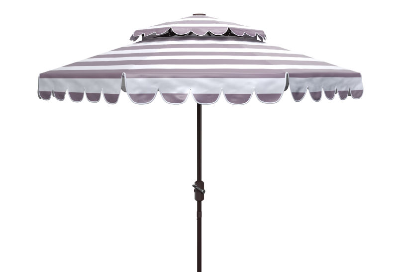 PAT8211B Vienna 9ft Rnd Double Top Crank Umbrella Grey/White