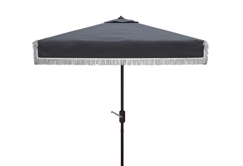 PAT8408A Milan Fringe 7.5 Ft Square Crank Umbrella Navy/White