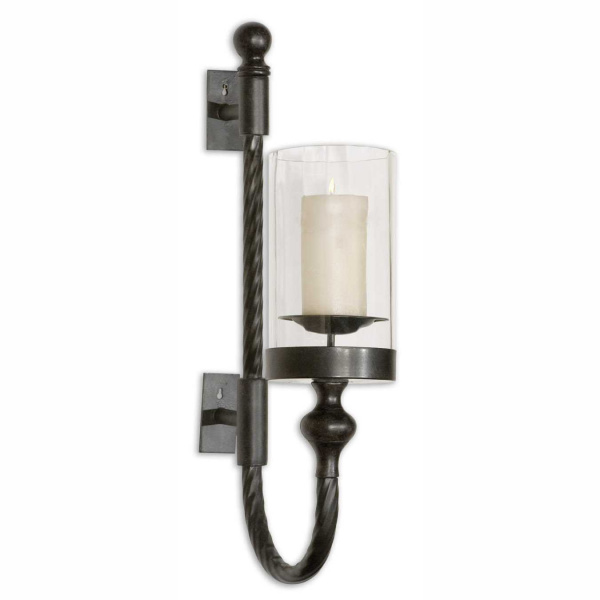 19476 Uttermost Garvin Twist Metal Sconce With Candle