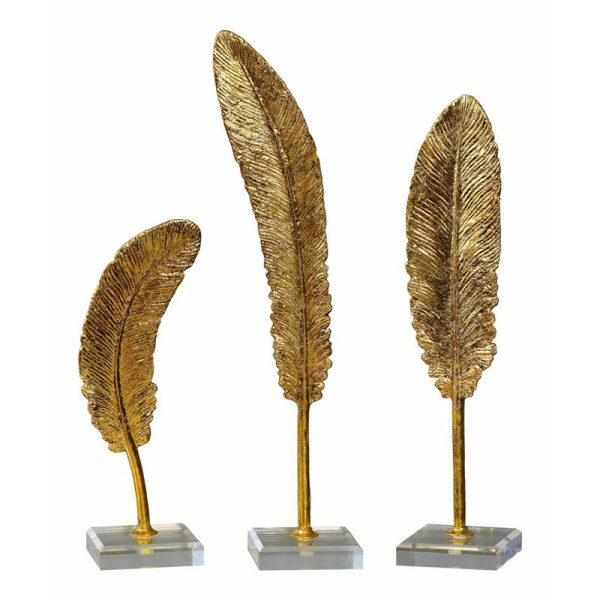 20079 Uttermost Feathers Gold Sculpture S/3