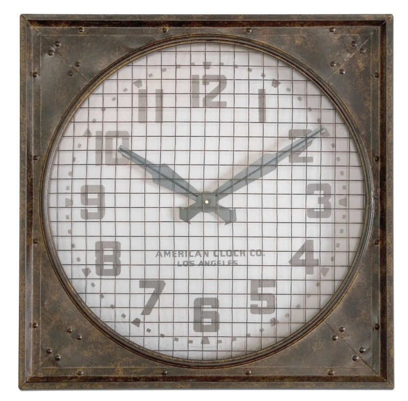 06083 Uttermost Warehouse Wall Clock W/ Grill