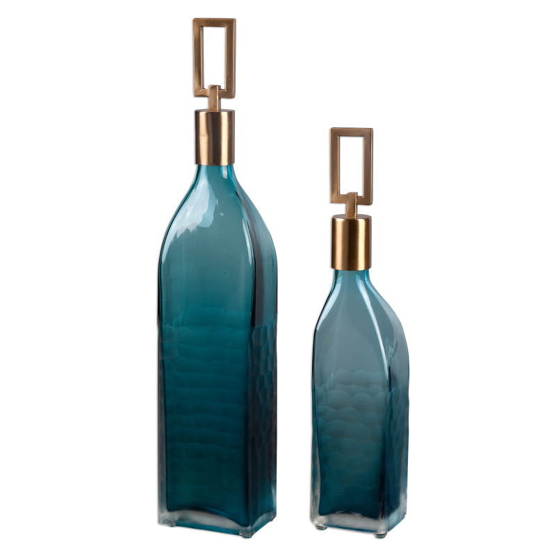 20076 Uttermost Annabella Teal Glass Bottles, S/2