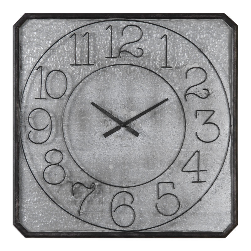 06436 Uttermost Dominic Galvanized Metal Wall Clock