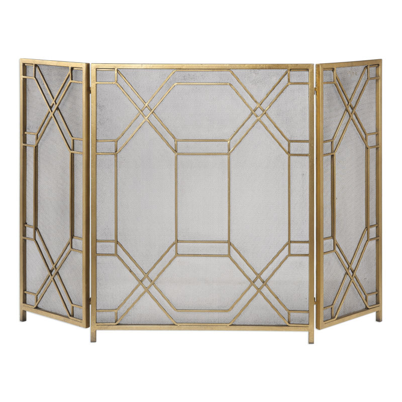 18707 Uttermost Rosen Gold Fireplace Screen