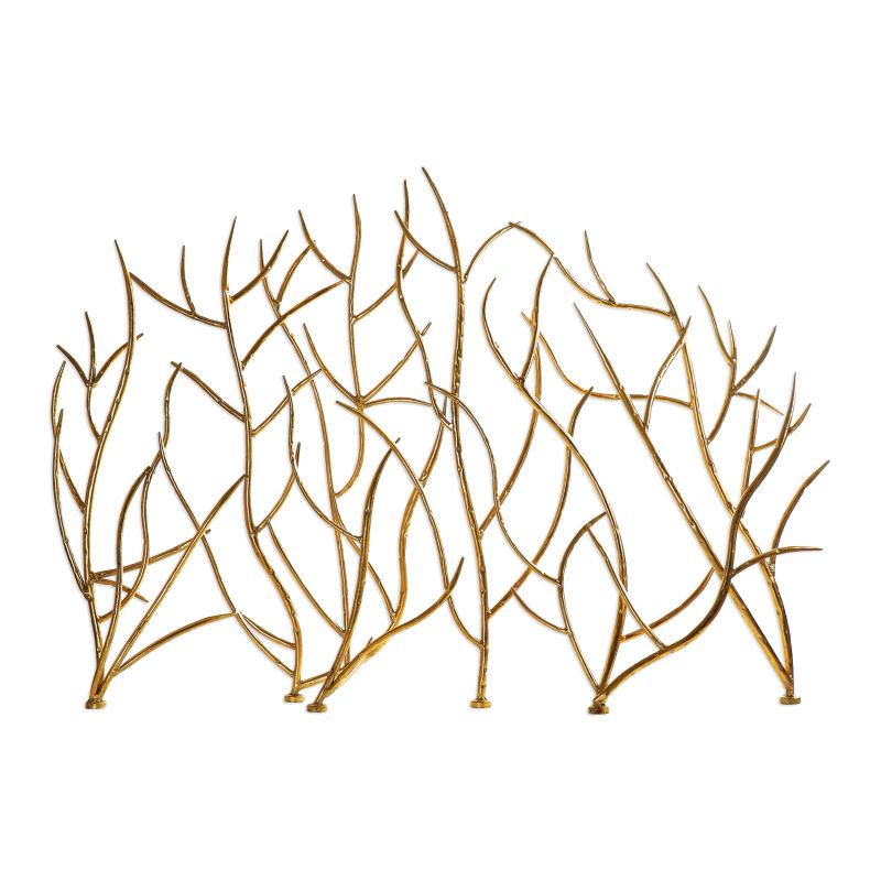 18796 Uttermost Gold Branches Decorative Fireplace Screen