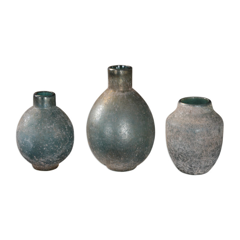 18844 Uttermost Mercede Weathered Blue-Green Vases S/3