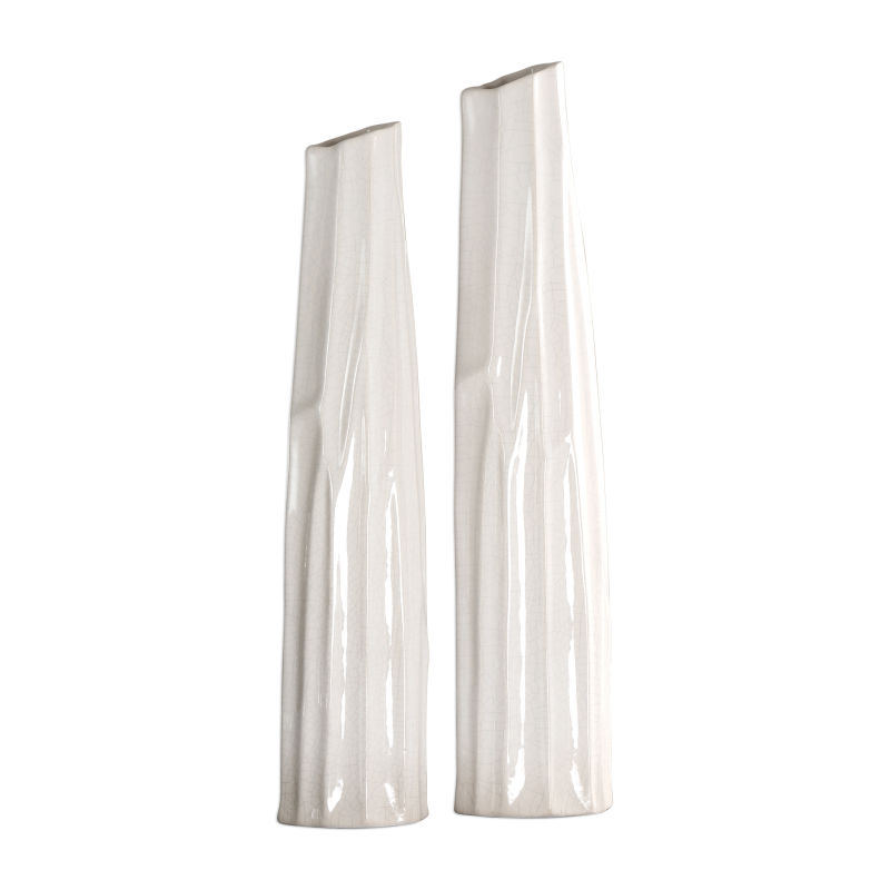 18868 Uttermost Kenley Crackled White Vases S/2