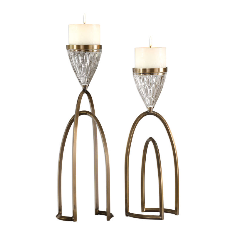 18920 Uttermost Carma Bronze And Crystal Candleholders, S/2