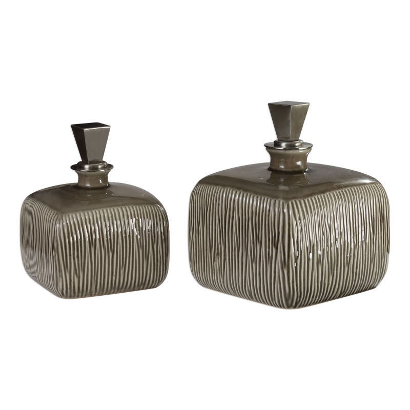 18938 Uttermost Cayson Ribbed Ceramic Bottles, S/2