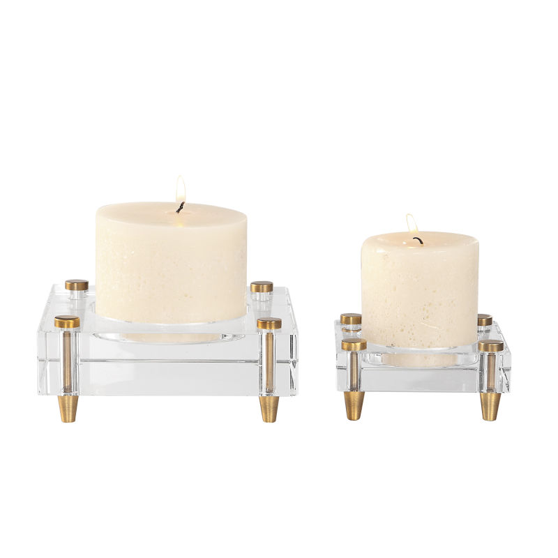 18643 Uttermost Claire Crystal Block Candleholders, S/2