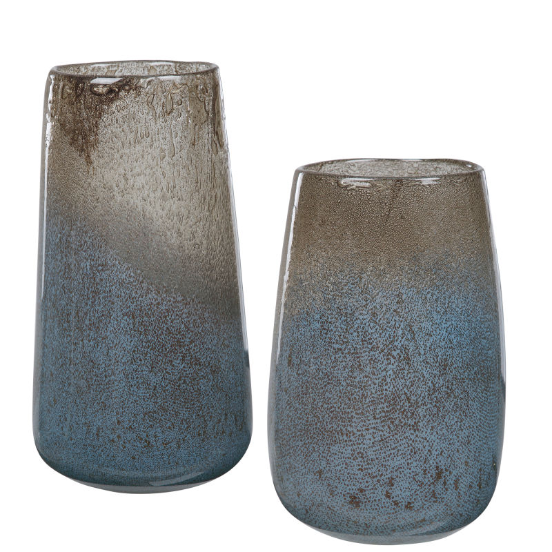 17762 Uttermost Ione Seeded Glass Vases, S/2