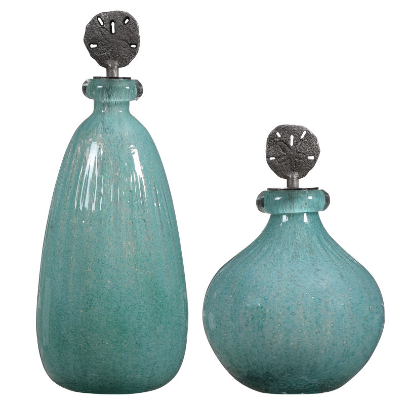 17841 Uttermost Mellita Aqua Glass Bottles, S/2
