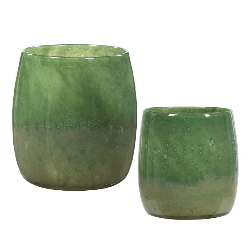 17845 Uttermost Matcha Green Glass Vases, S/2