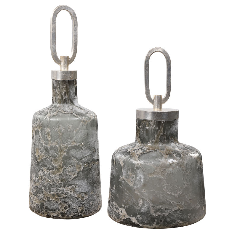 17840 Uttermost Storm Art Glass Bottles, S/2