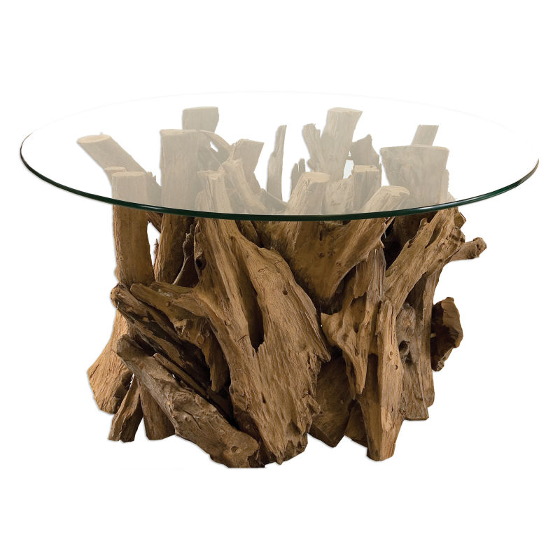25519 Uttermost Driftwood Glass Top Cocktail Table