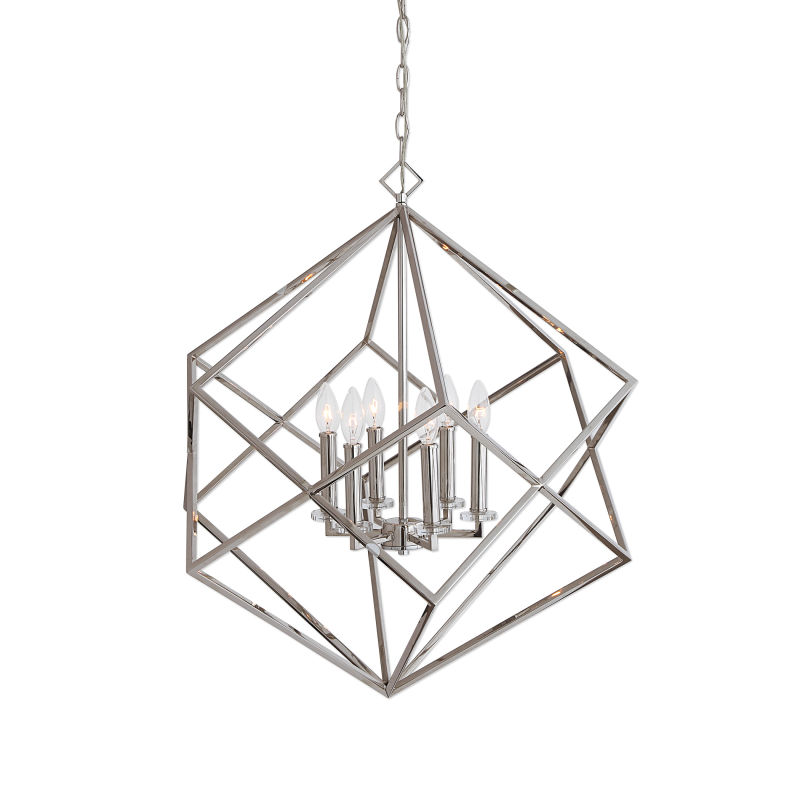 22122 Uttermost Euclid 6 Light Nickel Cube Pendant