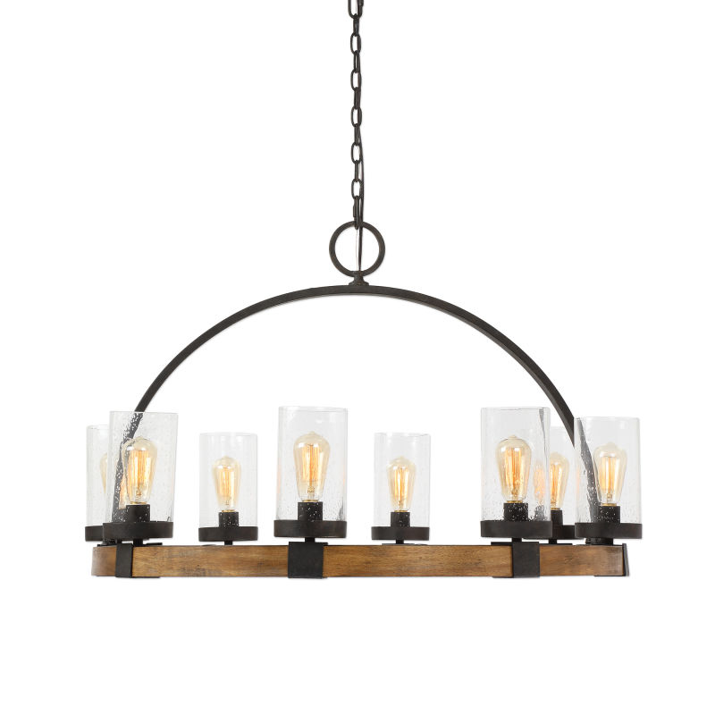 22133 Uttermost Atwood 8 Light Wagon Wheel Pendant