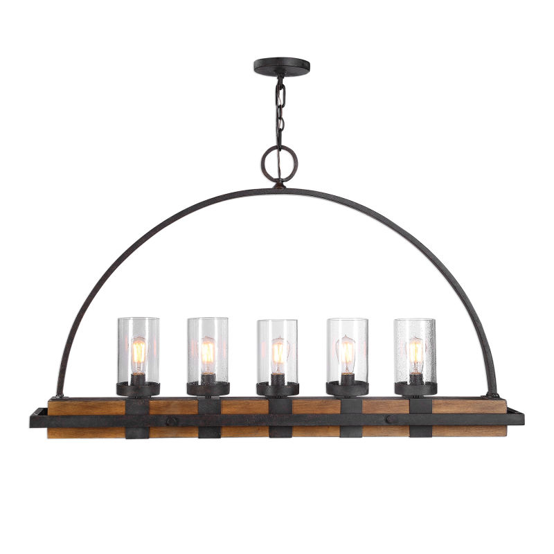 21328 Uttermost Atwood 5 Light Rustic Linear Chandelier