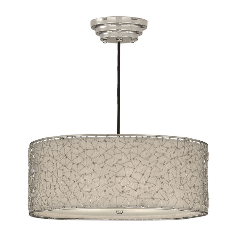 21154 Uttermost Brandon Silver 3 Light Drum Pendant