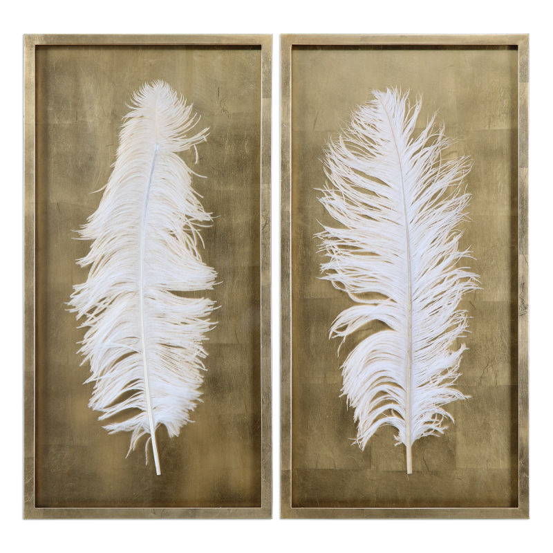 04057 Uttermost White Feathers Gold Shadow Box S/2