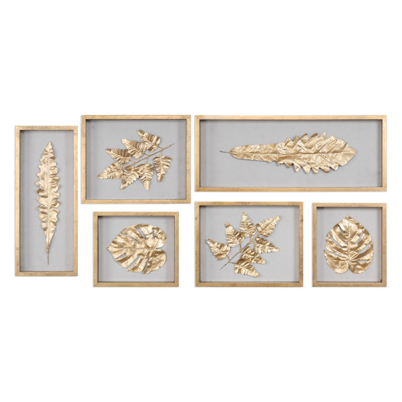04074 Uttermost Golden Leaves Shadow Box Set/6